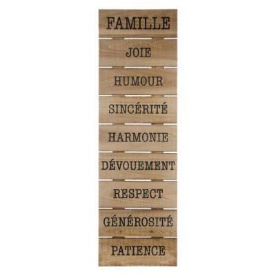 Plaque FAMILLE en bois naturel