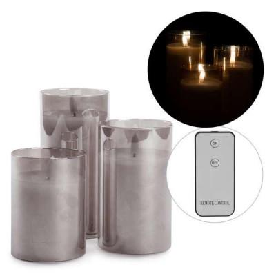 Ens. 3 Chandelle illuminées en verre gris & télécommande