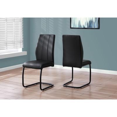 "Chaise 39""H / simili-cuir noire"
