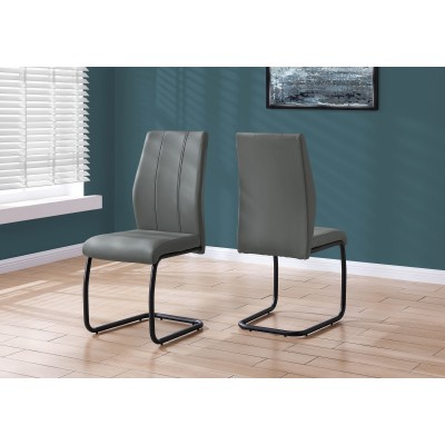 Chaise en simili-cuir gris
