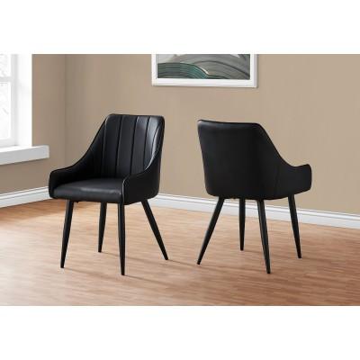 """Chaises 39""""H / simili-cuir noire (2)"""