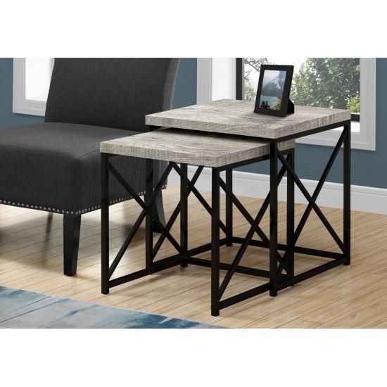 Tables gigognes / faux bois gris (2pcs)